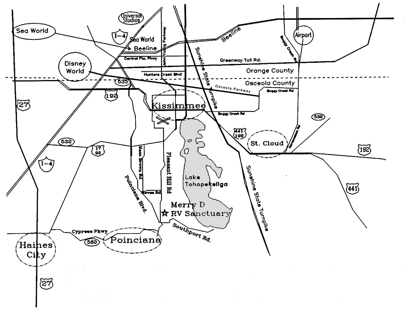 Maps of the Merry D RV Sanctuary in Kissimmee, FL.  Mins Wiring Diagram on